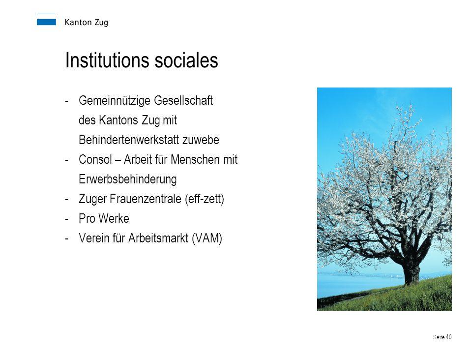 Seite 40 Institutions sociales -Gemeinnützige Gesellschaft des Kantons Zug mit Behindertenwerkstatt zuwebe -Consol – Arbeit für Menschen mit Erwerbsbehinderung -Zuger Frauenzentrale (eff-zett) -Pro Werke -Verein für Arbeitsmarkt (VAM)