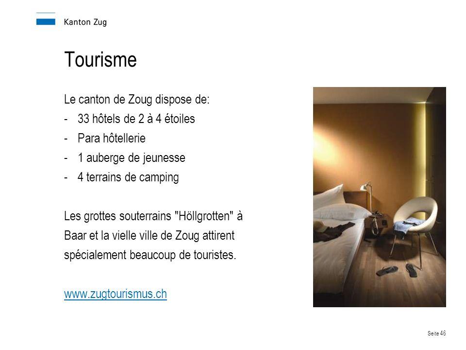 Seite 46 Tourisme Le canton de Zoug dispose de: -33 hôtels de 2 à 4 étoiles -Para hôtellerie -1 auberge de jeunesse -4 terrains de camping Les grottes souterrains Höllgrotten à Baar et la vielle ville de Zoug attirent spécialement beaucoup de touristes.