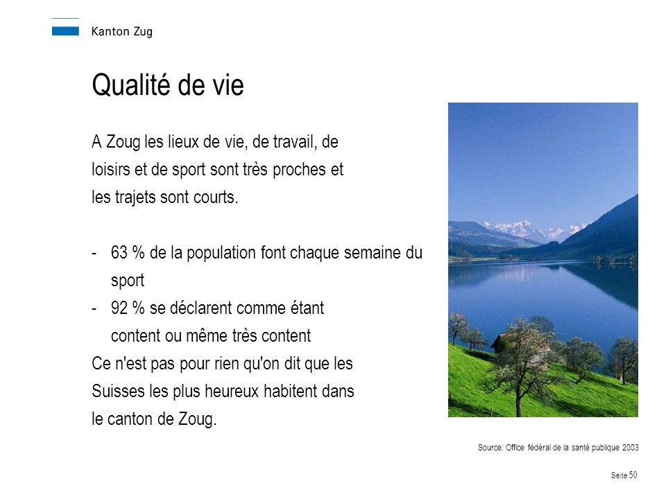 Seite 50 Qualité de vie A Zoug les lieux de vie, de travail, de loisirs et de sport sont très proches et les trajets sont courts.