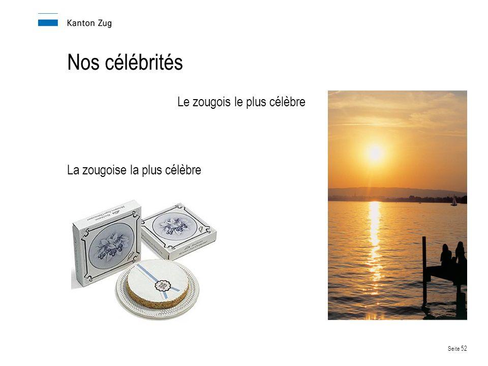 Seite 52 Nos célébrités Le zougois le plus célèbre La zougoise la plus célèbre
