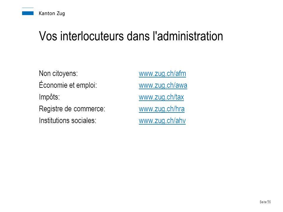 Seite 56 Vos interlocuteurs dans l administration Non citoyens: www.zug.ch/afmwww.zug.ch/a Économie et emploi:www.zug.ch/awawww.zug.ch/awa Impôts:www.zug.ch/taxwww.zug.ch/tax Registre de commerce:www.zug.ch/hrawww.zug.ch/hra Institutions sociales:www.zug.ch/ahvwww.zug.ch/ahv
