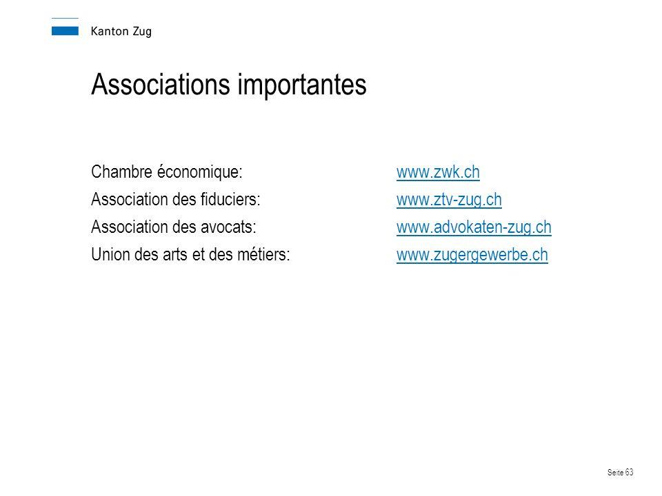 Seite 63 Associations importantes Chambre économique:www.zwk.chwww.zwk.ch Association des fiduciers:www.ztv-zug.chwww.ztv-zug.ch Association des avocats:www.advokaten-zug.chwww.advokaten-zug.ch Union des arts et des métiers:www.zugergewerbe.chwww.zugergewerbe.ch