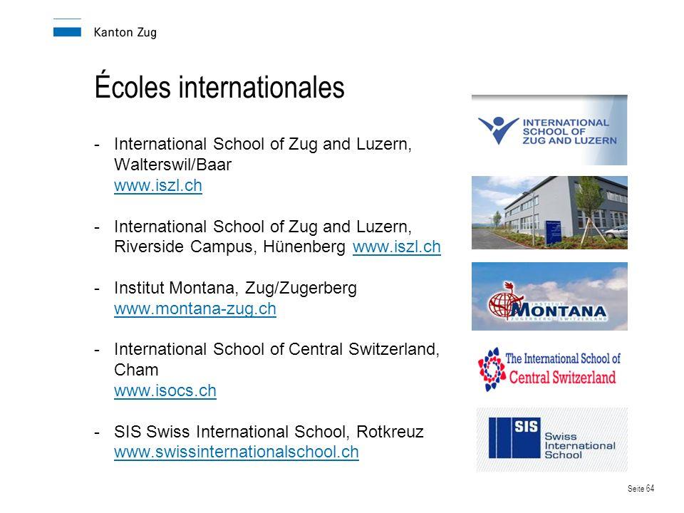 Seite 64 Écoles internationales -International School of Zug and Luzern, Walterswil/Baar www.iszl.ch www.iszl.ch -International School of Zug and Luzern, Riverside Campus, Hünenberg www.iszl.chwww.