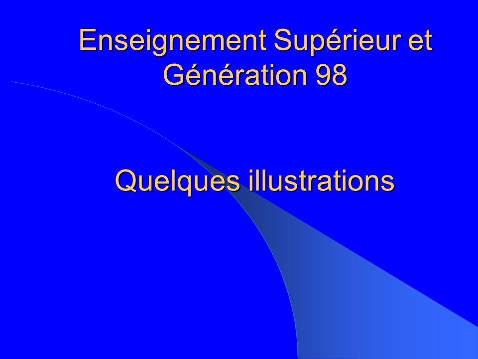 Enseignement Supérieur et Génération 98 Quelques illustrations
