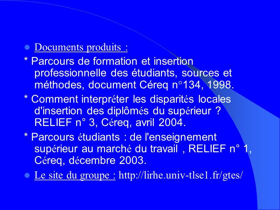 Documents produits : * Parcours de formation et insertion professionnelle des étudiants, sources et méthodes, document Céreq n°134, 1998.