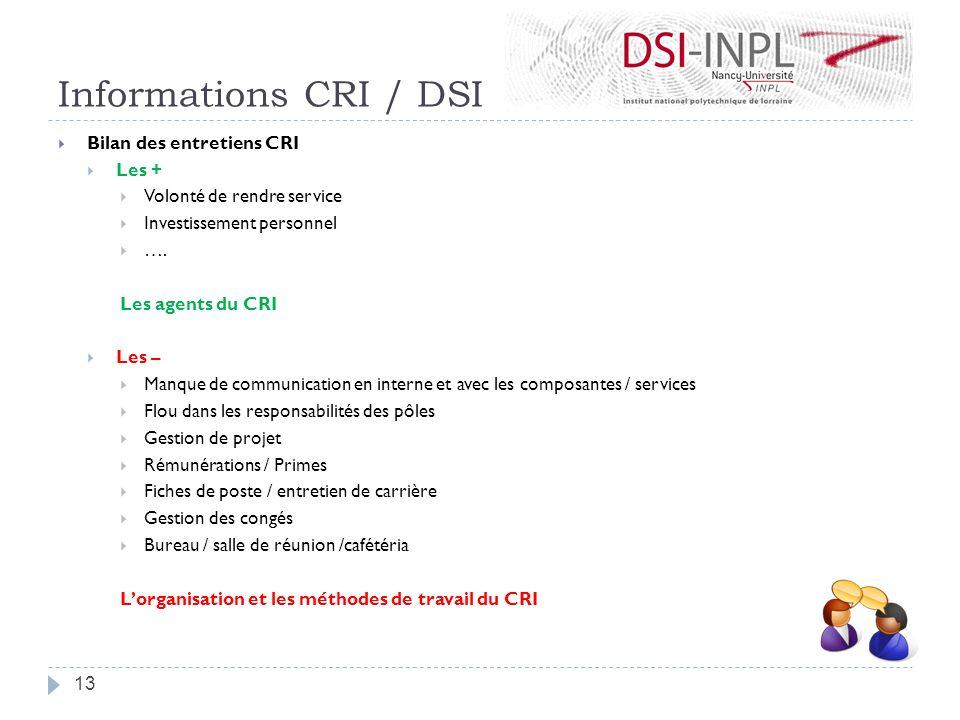 Informations CRI / DSI Bilan des entretiens CRI Les + Volonté de rendre service Investissement personnel …. Les agents du CRI Les – Manque de communic