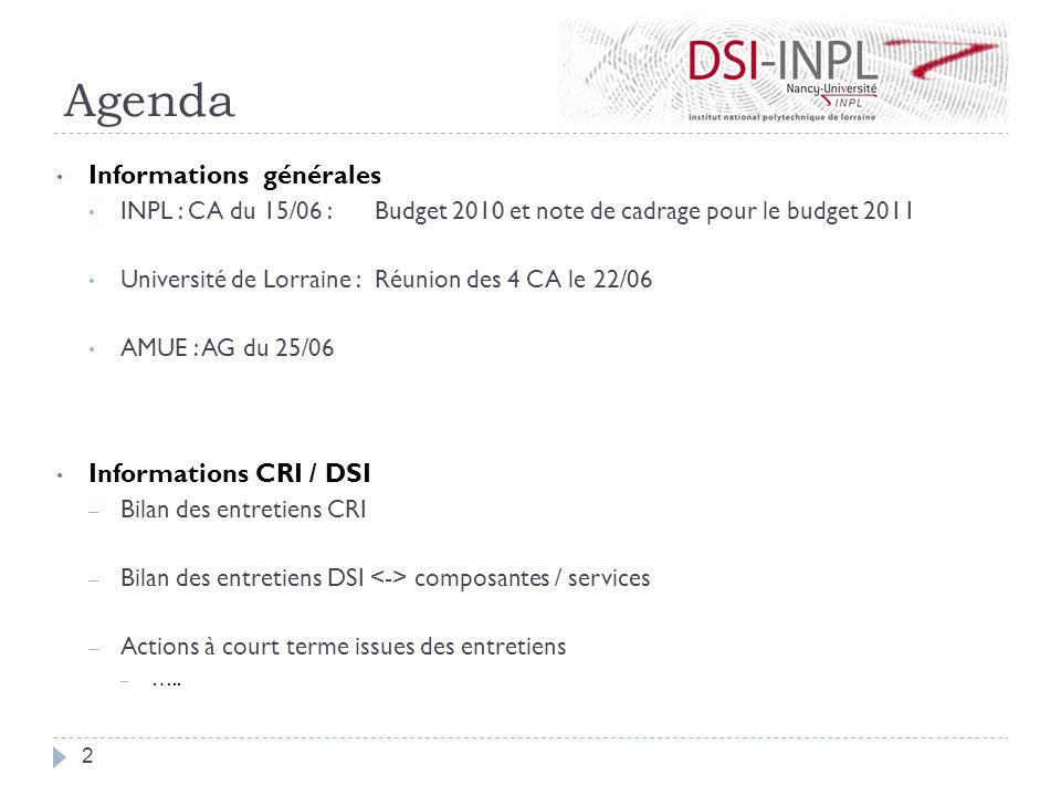 Agenda Informations générales INPL : CA du 15/06 : Budget 2010 et note de cadrage pour le budget 2011 Université de Lorraine : Réunion des 4 CA le 22/