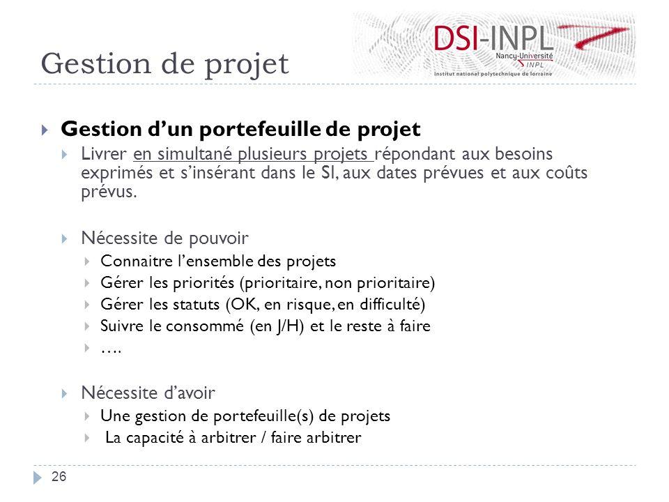 Gestion de projet Gestion dun portefeuille de projet Livrer en simultané plusieurs projets répondant aux besoins exprimés et sinsérant dans le SI, aux