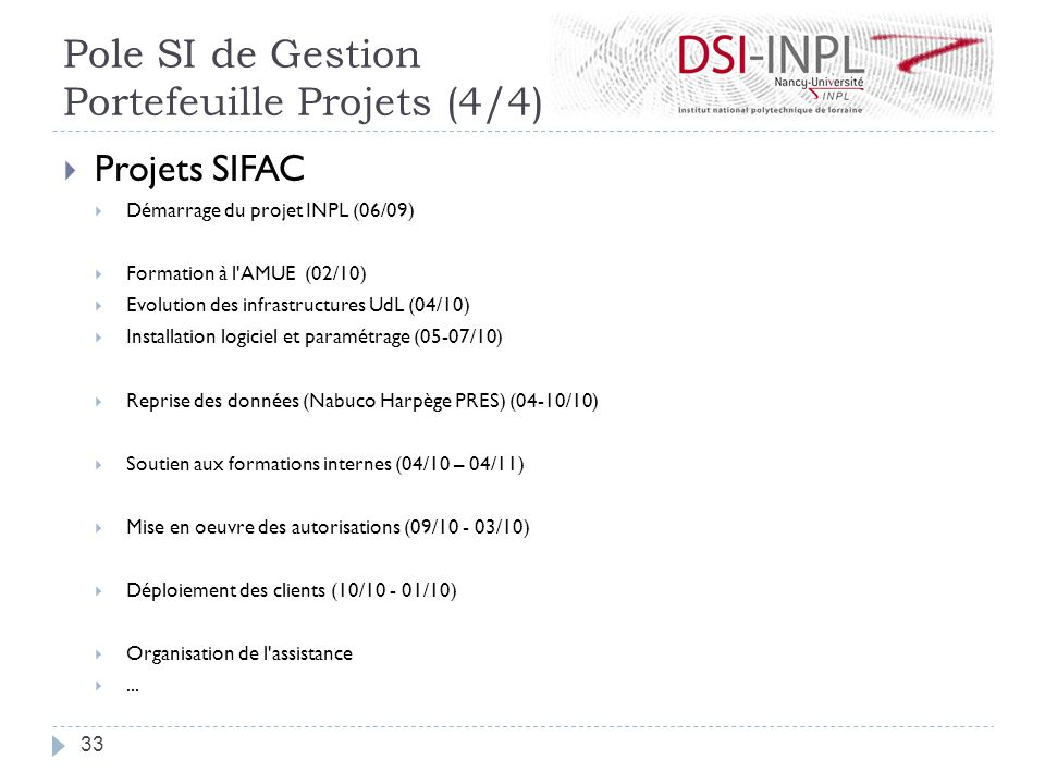 Projets SIFAC Démarrage du projet INPL (06/09) Formation à l'AMUE (02/10) Evolution des infrastructures UdL (04/10) Installation logiciel et paramétra