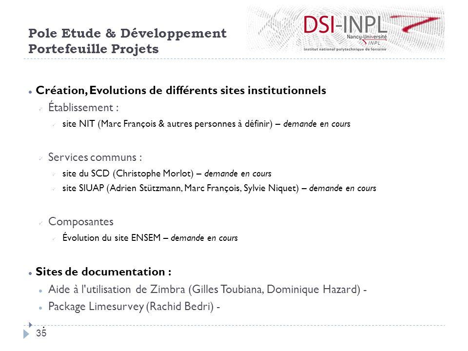Création, Evolutions de différents sites institutionnels Établissement : site NIT (Marc François & autres personnes à définir) – demande en cours Serv