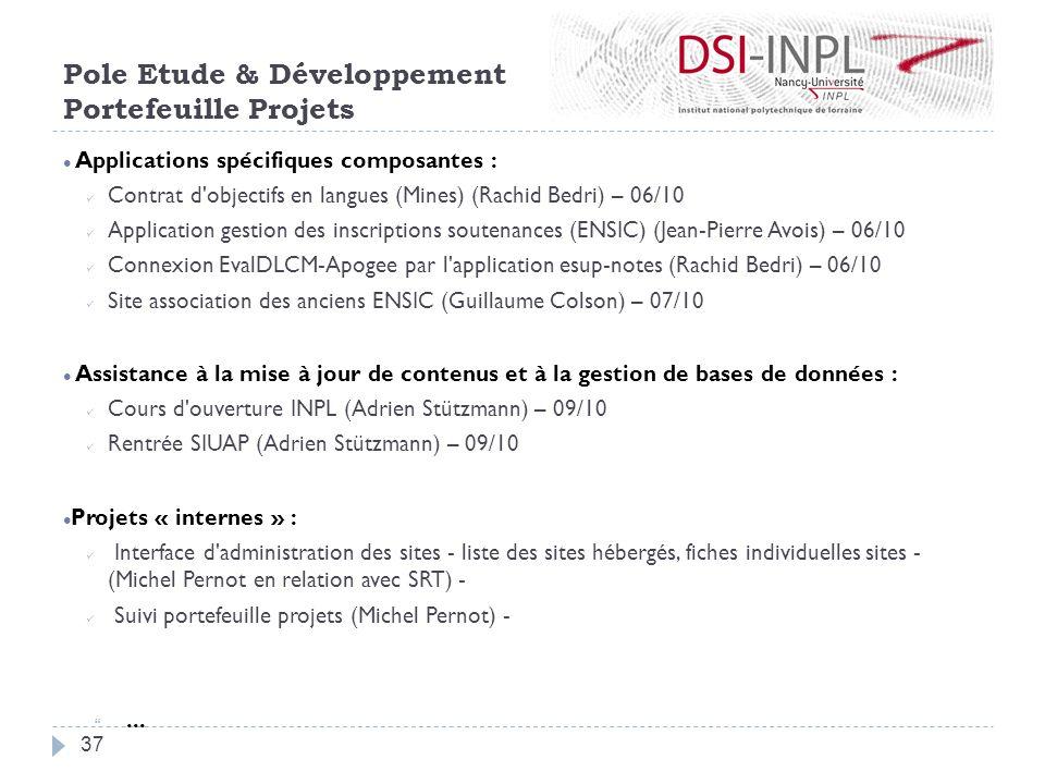 Applications spécifiques composantes : Contrat d'objectifs en langues (Mines) (Rachid Bedri) – 06/10 Application gestion des inscriptions soutenances