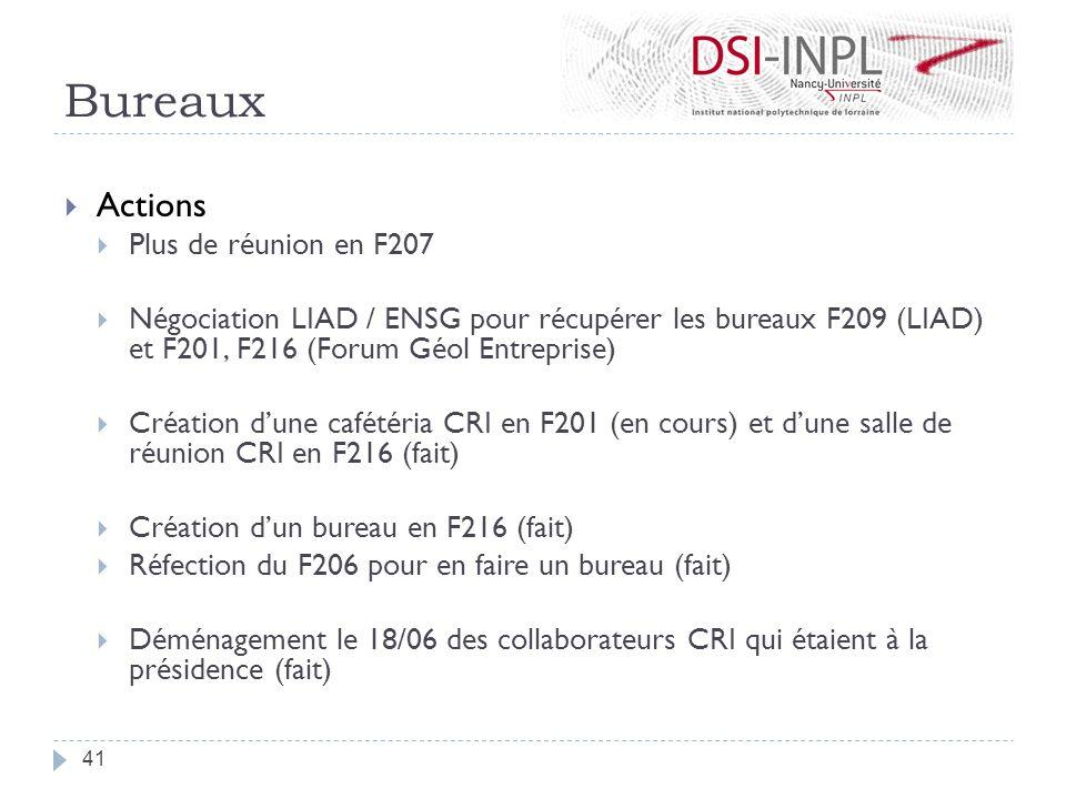 Bureaux Actions Plus de réunion en F207 Négociation LIAD / ENSG pour récupérer les bureaux F209 (LIAD) et F201, F216 (Forum Géol Entreprise) Création