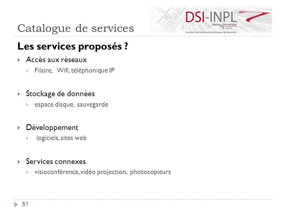 Catalogue de services Les services proposés ? Accès aux réseaux Filaire, Wifi, téléphonique IP Stockage de données espace disque, sauvegarde Développe