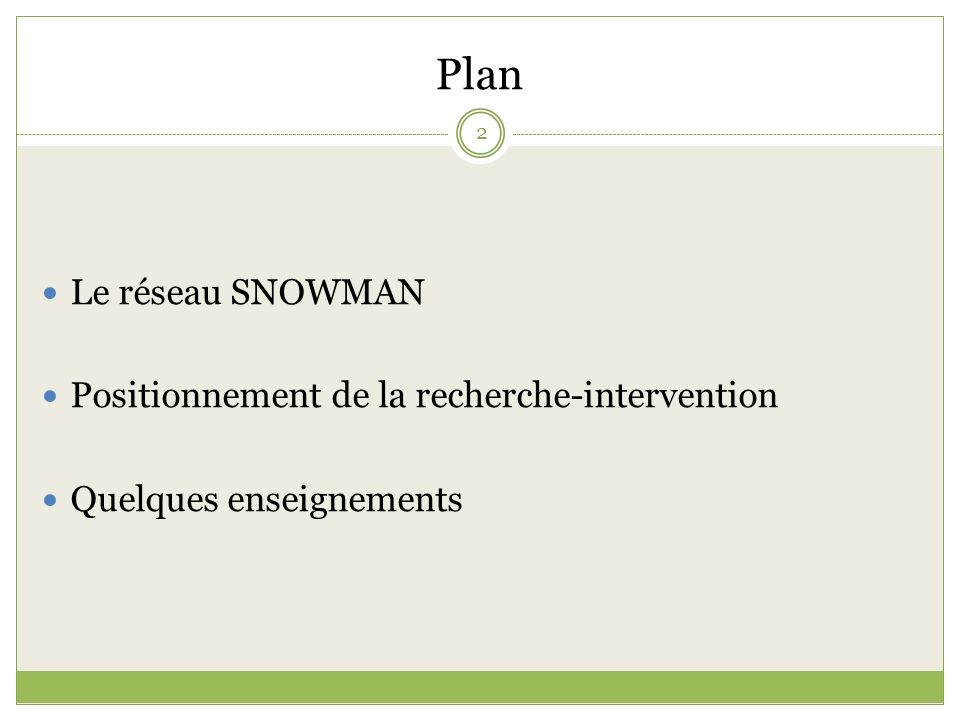 Plan Le réseau SNOWMAN Positionnement de la recherche-intervention Quelques enseignements 2