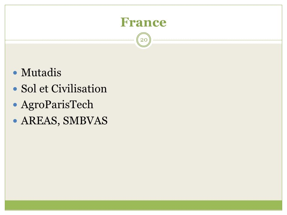 France 20 Mutadis Sol et Civilisation AgroParisTech AREAS, SMBVAS