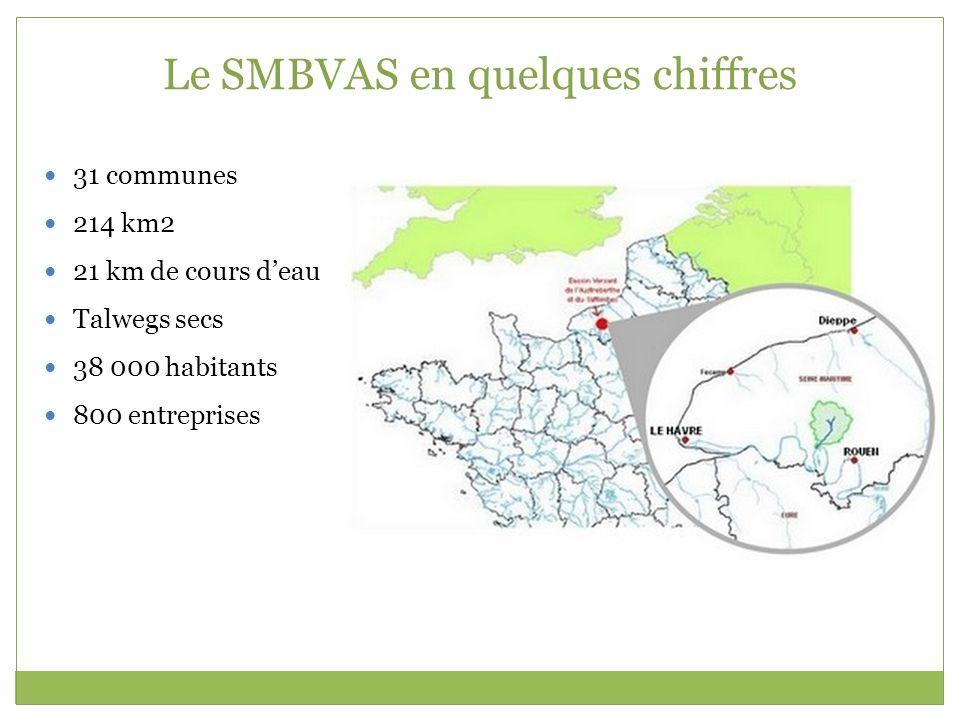 Le SMBVAS en quelques chiffres 31 communes 214 km2 21 km de cours deau Talwegs secs 38 000 habitants 800 entreprises