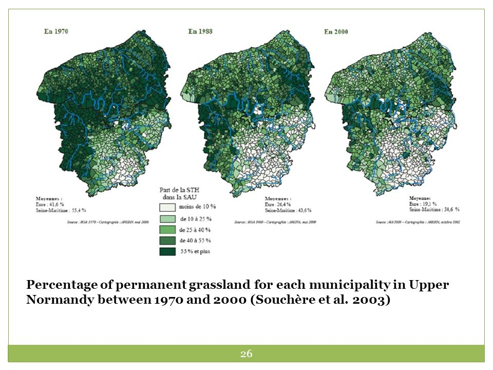 26 Percentage of permanent grassland for each municipality in Upper Normandy between 1970 and 2000 (Souchère et al.