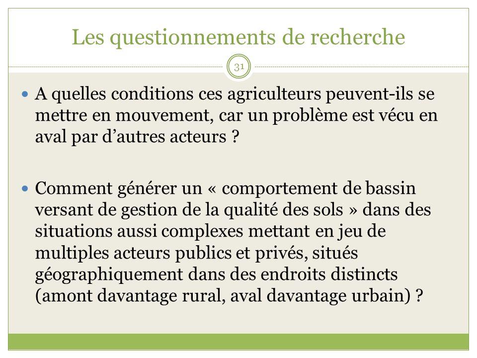 Les questionnements de recherche 31 A quelles conditions ces agriculteurs peuvent-ils se mettre en mouvement, car un problème est vécu en aval par dautres acteurs .