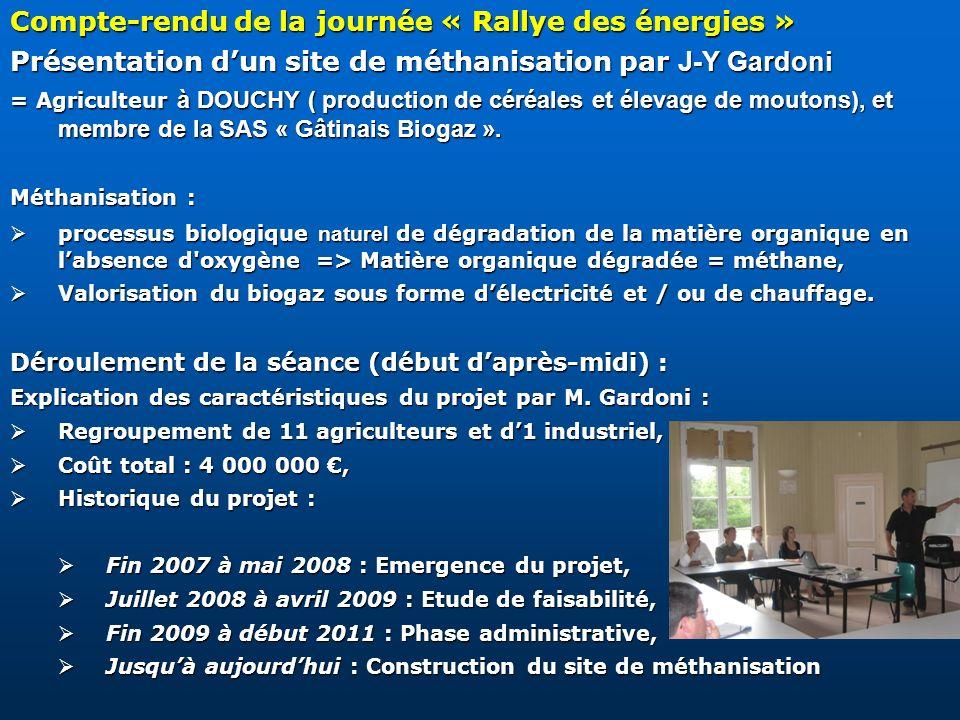 Compte-rendu de la journée « Rallye des énergies » Présentation dun site de méthanisation par J-Y Gardoni = Agriculteur à DOUCHY ( production de céréa