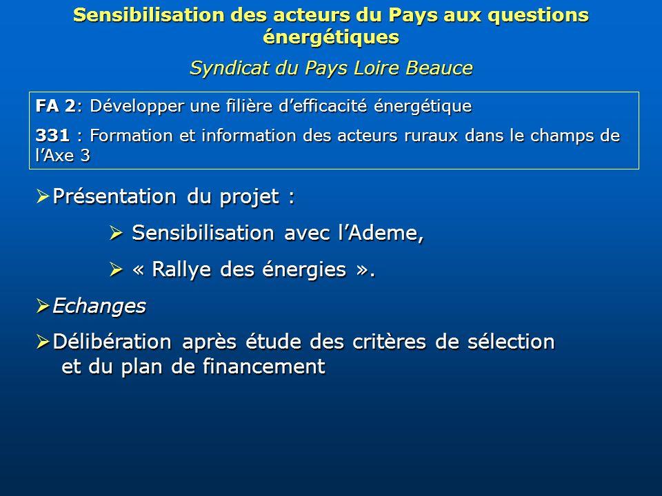 FA 2: Développer une filière defficacité énergétique 331 : Formation et information des acteurs ruraux dans le champs de lAxe 3 Présentation du projet