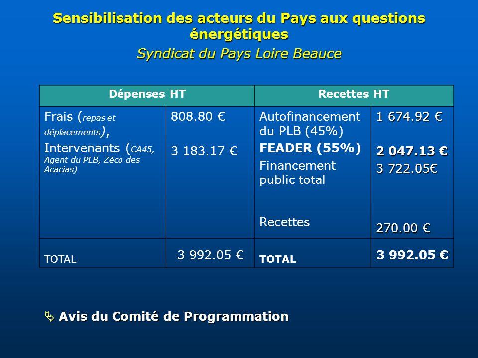 Avis du Comité de Programmation Avis du Comité de Programmation Sensibilisation des acteurs du Pays aux questions énergétiques Syndicat du Pays Loire