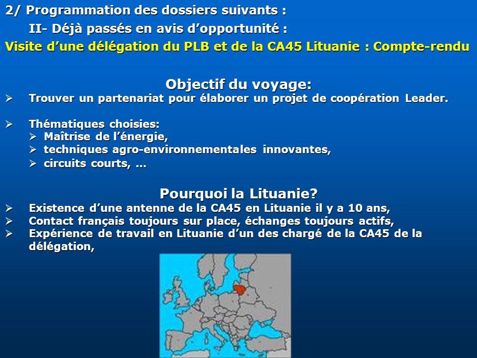 2/ Programmation des dossiers suivants : II- Déjà passés en avis dopportunité : Visite dune délégation du PLB et de la CA45 Lituanie : Compte-rendu Ob