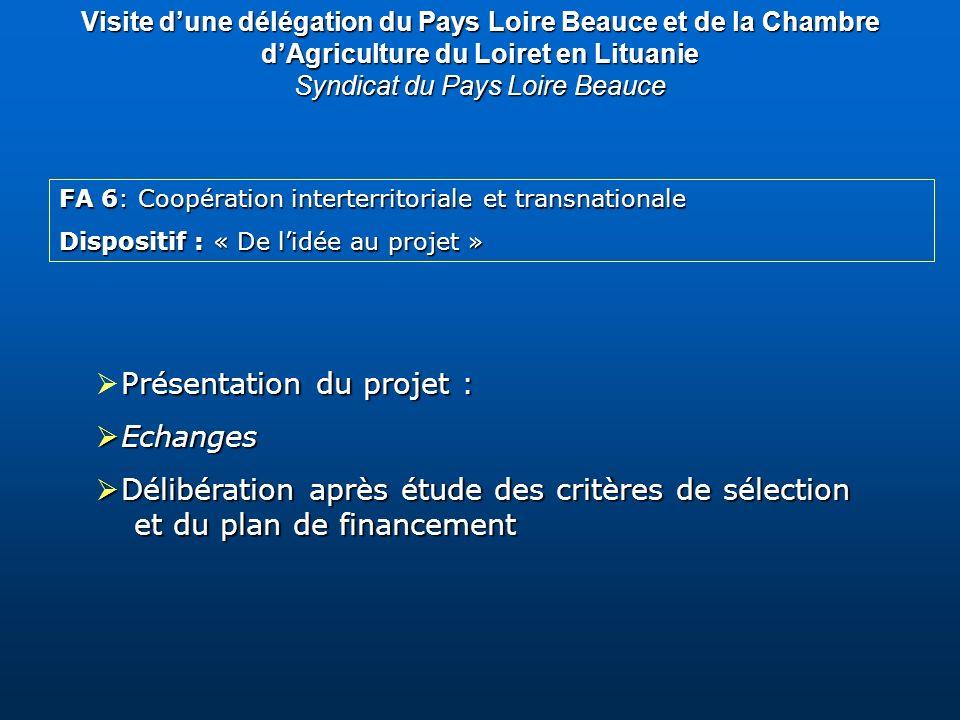FA 6: Coopération interterritoriale et transnationale Dispositif : « De lidée au projet » Présentation du projet : Echanges Echanges Délibération aprè