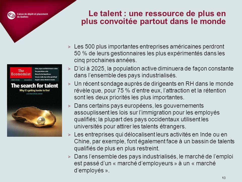 13 Le talent : une ressource de plus en plus convoitée partout dans le monde > Les 500 plus importantes entreprises américaines perdront 50 % de leurs