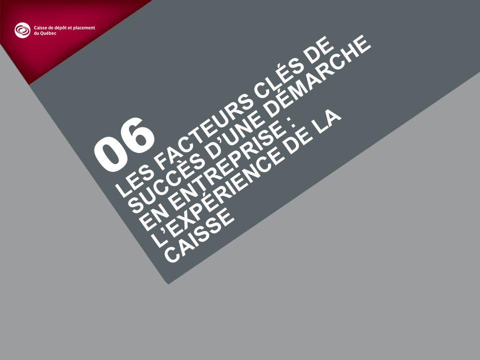 27 LES FACTEURS CLÉS DE SUCCÈS DUNE DÉMARCHE EN ENTREPRISE : LEXPÉRIENCE DE LA CAISSE 06