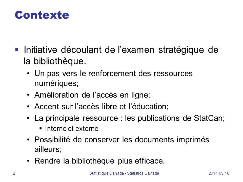 Contexte Initiative découlant de lexamen stratégique de la bibliothèque.