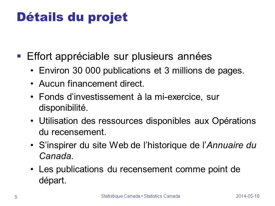 Détails du projet Effort appréciable sur plusieurs années Environ 30 000 publications et 3 millions de pages.