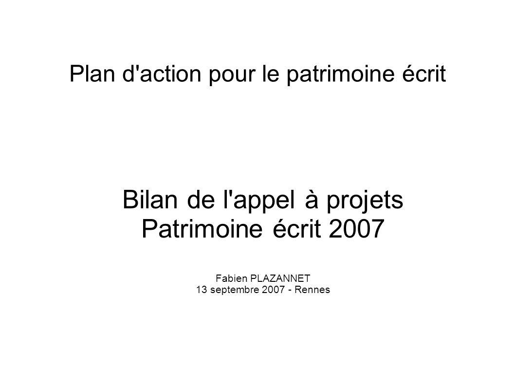 Plan d'action pour le patrimoine écrit Bilan de l'appel à projets Patrimoine écrit 2007 Fabien PLAZANNET 13 septembre 2007 - Rennes