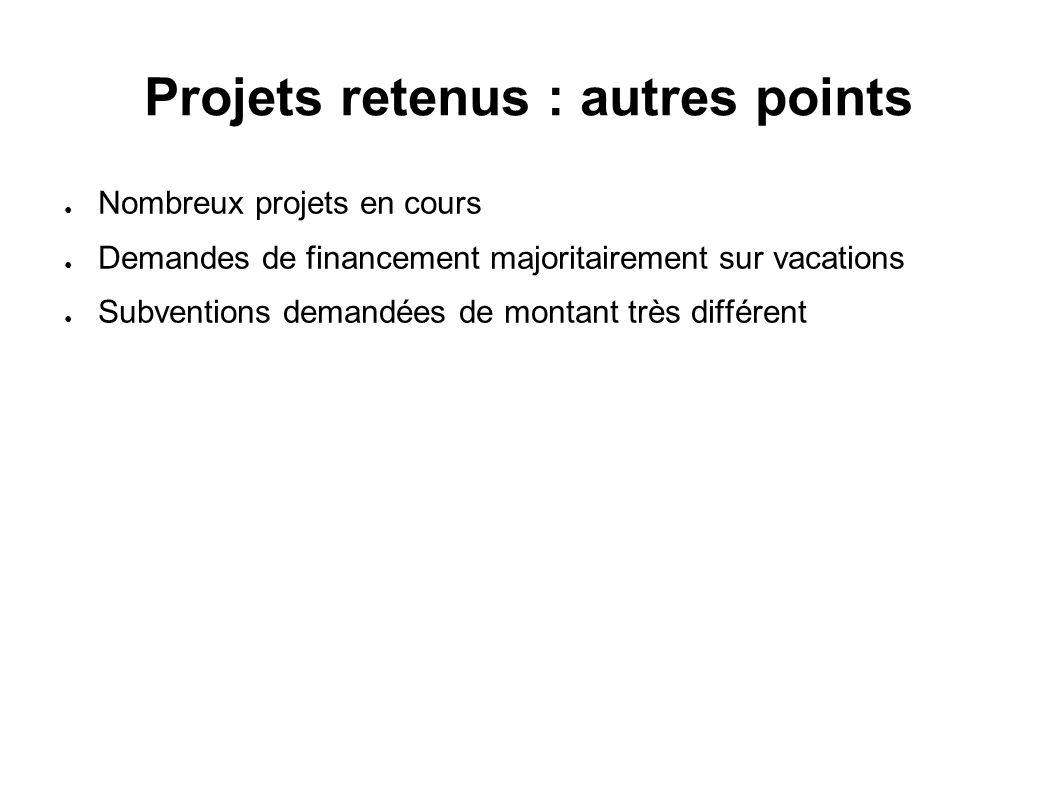 Projets retenus : autres points Nombreux projets en cours Demandes de financement majoritairement sur vacations Subventions demandées de montant très