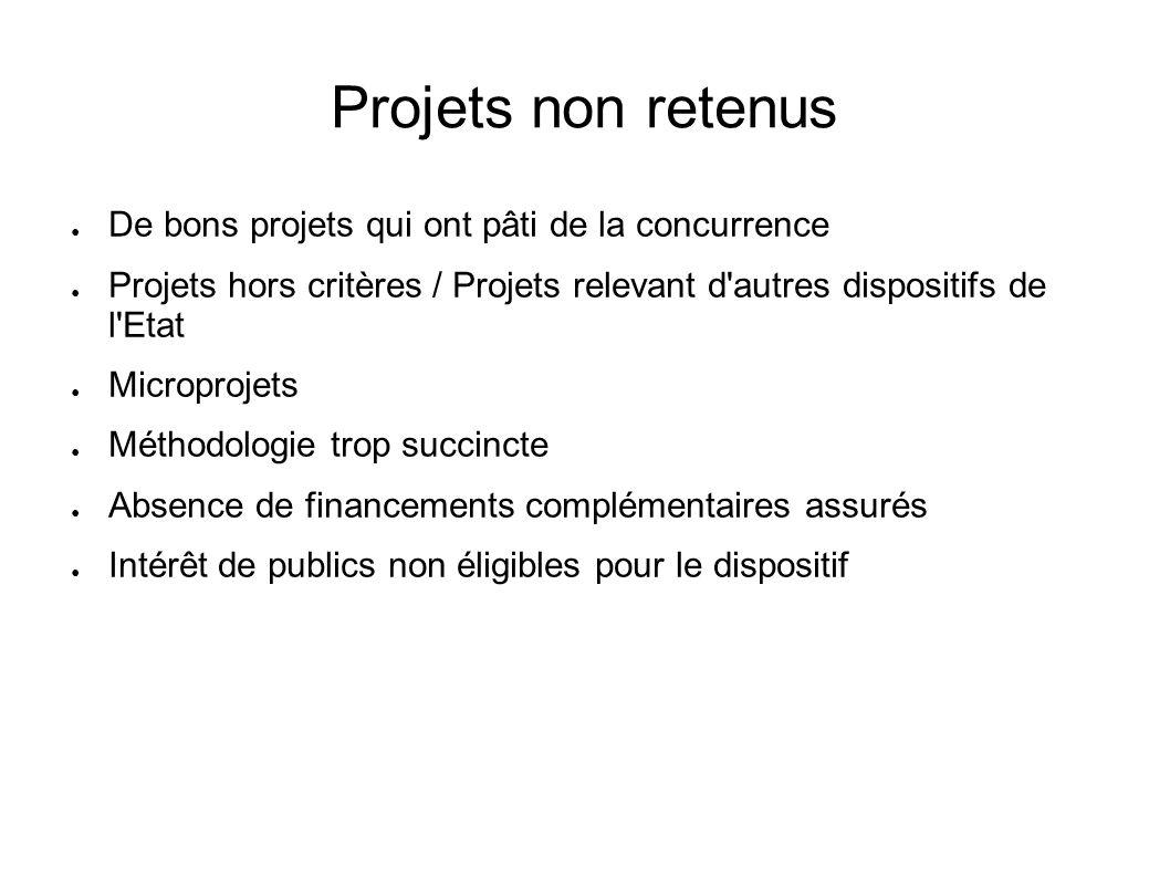 Projets non retenus De bons projets qui ont pâti de la concurrence Projets hors critères / Projets relevant d'autres dispositifs de l'Etat Microprojet