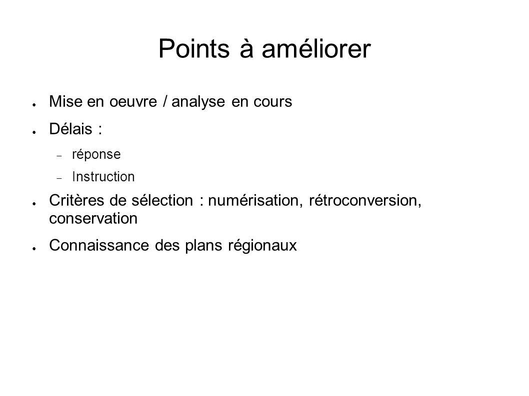 Points à améliorer Mise en oeuvre / analyse en cours Délais : réponse Instruction Critères de sélection : numérisation, rétroconversion, conservation