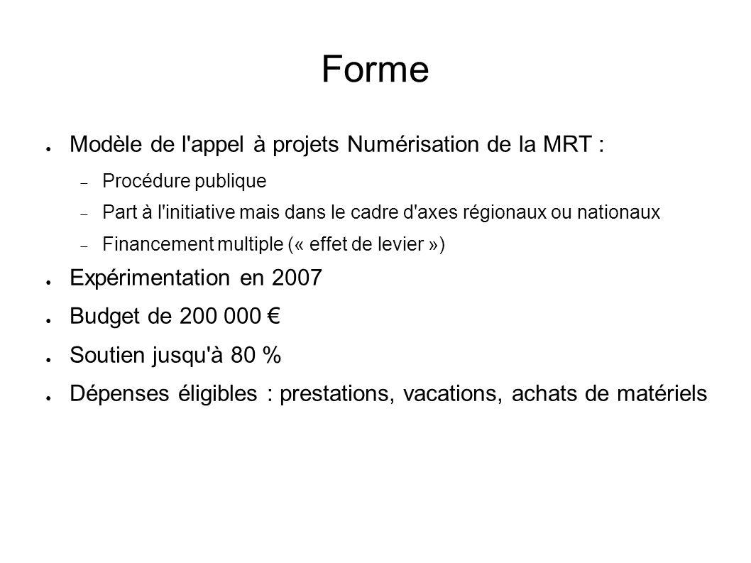 Forme Modèle de l'appel à projets Numérisation de la MRT : Procédure publique Part à l'initiative mais dans le cadre d'axes régionaux ou nationaux Fin