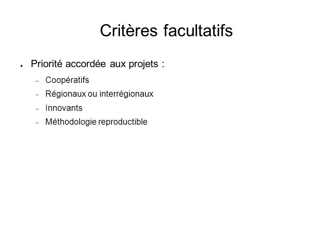 Critères facultatifs Priorité accordée aux projets : Coopératifs Régionaux ou interrégionaux Innovants Méthodologie reproductible