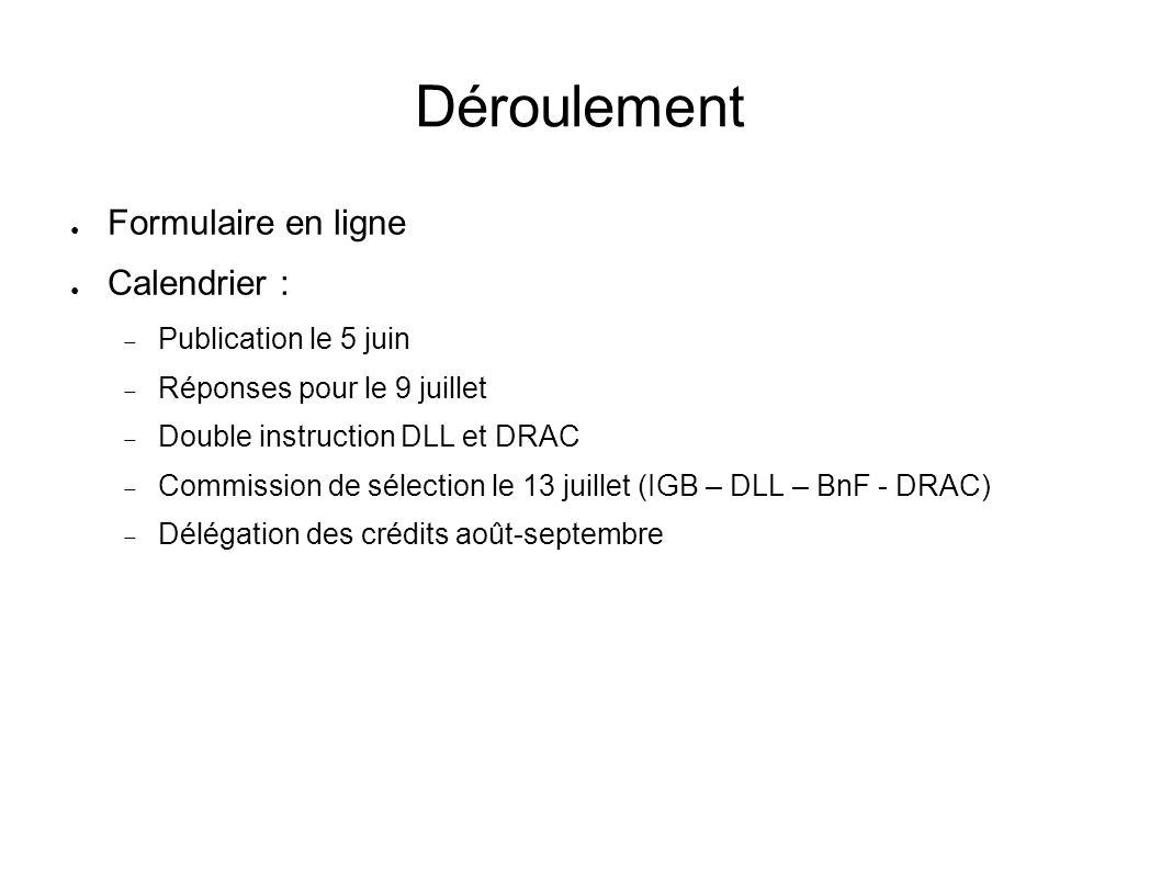 Déroulement Formulaire en ligne Calendrier : Publication le 5 juin Réponses pour le 9 juillet Double instruction DLL et DRAC Commission de sélection l