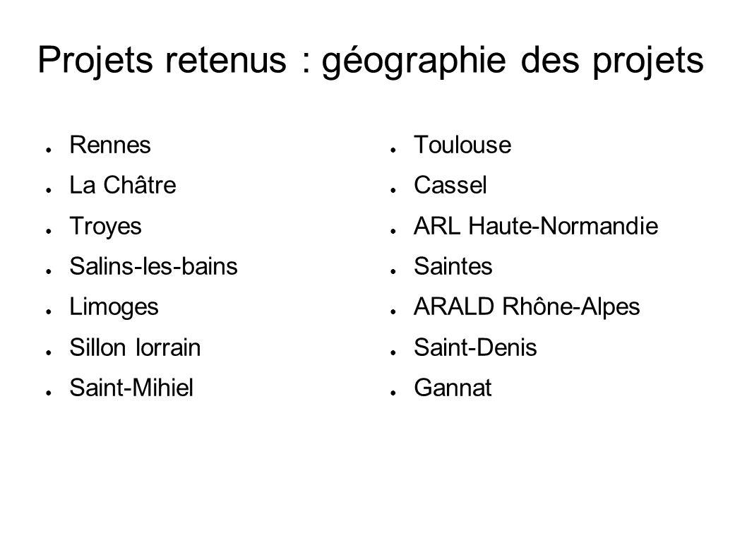 Projets retenus : géographie des projets Rennes La Châtre Troyes Salins-les-bains Limoges Sillon lorrain Saint-Mihiel Toulouse Cassel ARL Haute-Norman