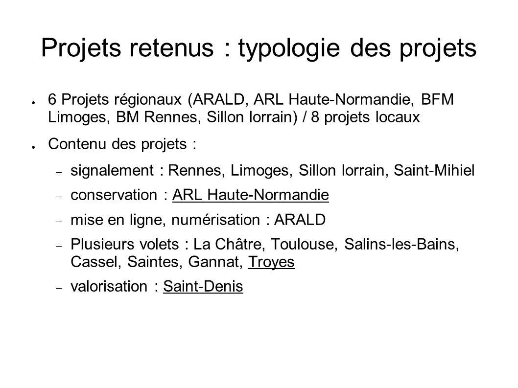 Projets retenus : typologie des projets 6 Projets régionaux (ARALD, ARL Haute-Normandie, BFM Limoges, BM Rennes, Sillon lorrain) / 8 projets locaux Co