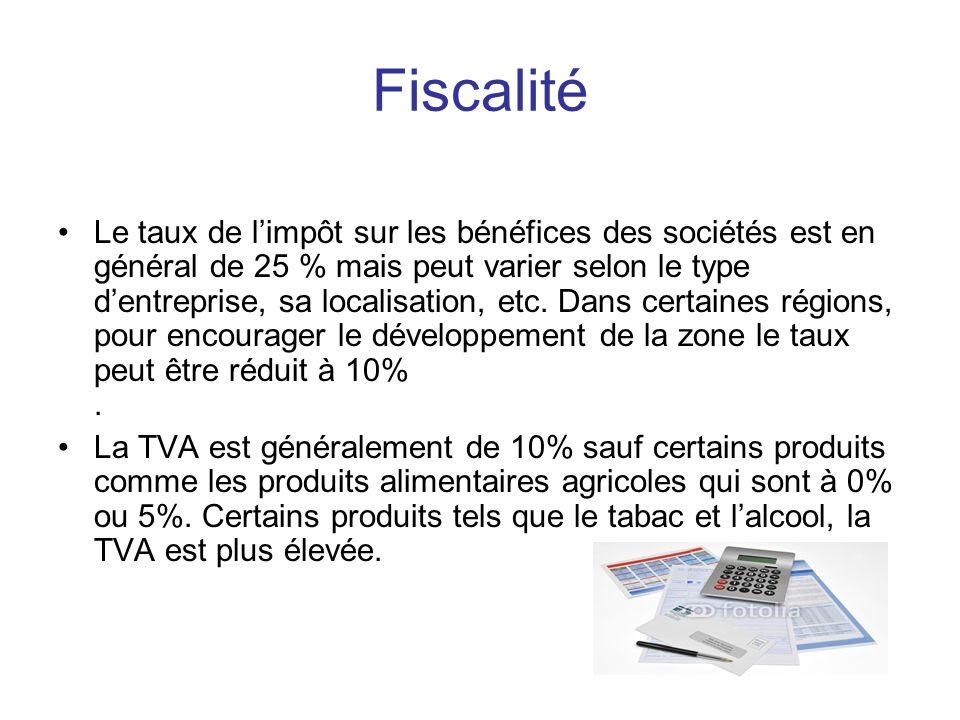 Fiscalité Le taux de limpôt sur les bénéfices des sociétés est en général de 25 % mais peut varier selon le type dentreprise, sa localisation, etc.