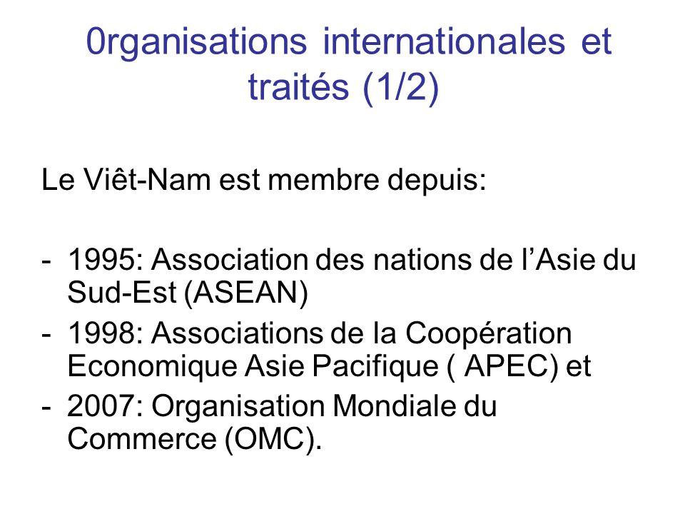 0rganisations internationales et traités (1/2) Le Viêt-Nam est membre depuis: -1995: Association des nations de lAsie du Sud-Est (ASEAN) -1998: Associations de la Coopération Economique Asie Pacifique ( APEC) et -2007: Organisation Mondiale du Commerce (OMC).