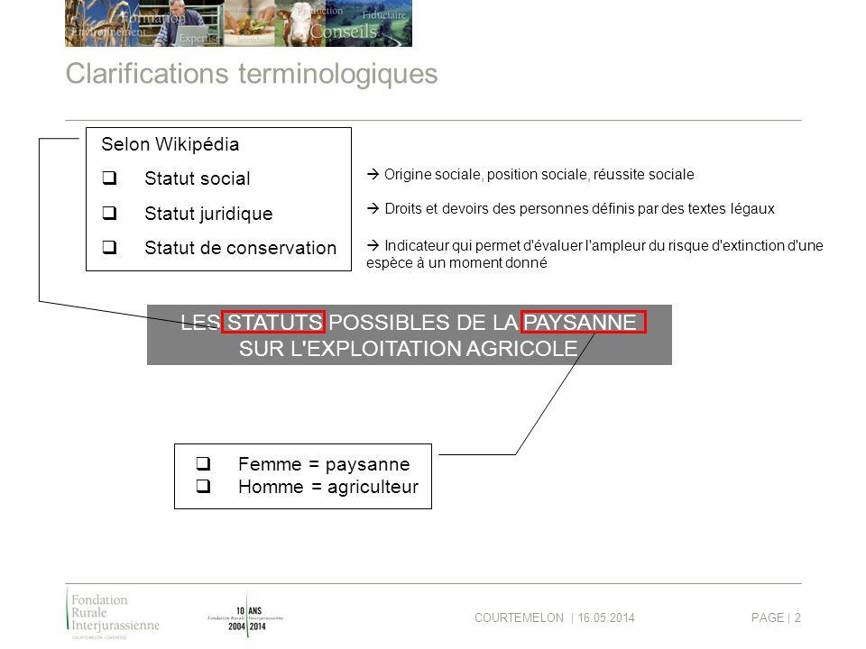 COURTEMELON | 16.05.2014PAGE | 2 Clarifications terminologiques LES STATUTS POSSIBLES DE LA PAYSANNE SUR L'EXPLOITATION AGRICOLE Selon Wikipédia Statu