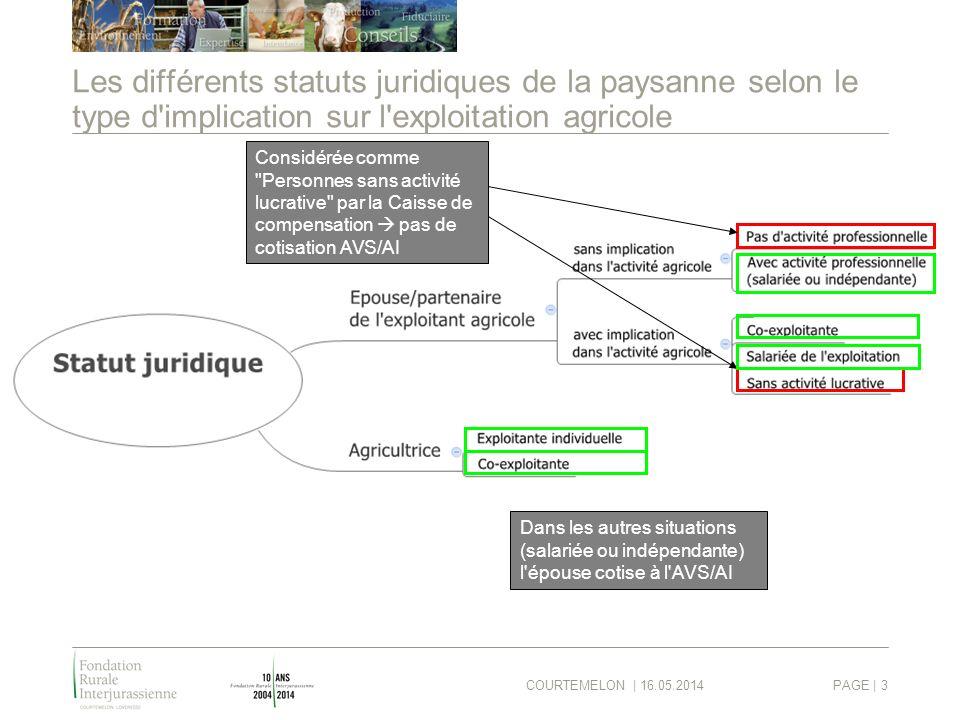 COURTEMELON | 16.05.2014PAGE | 3 Les différents statuts juridiques de la paysanne selon le type d'implication sur l'exploitation agricole Considérée c