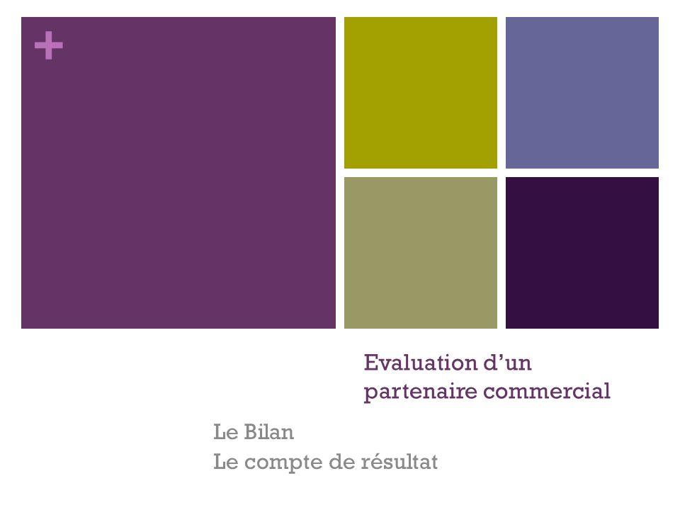 + Evaluation dun partenaire commercial Le Bilan Le compte de résultat