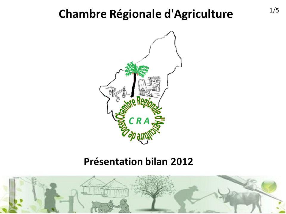 Chambre Régionale d Agriculture Présentation bilan 2012 1/5