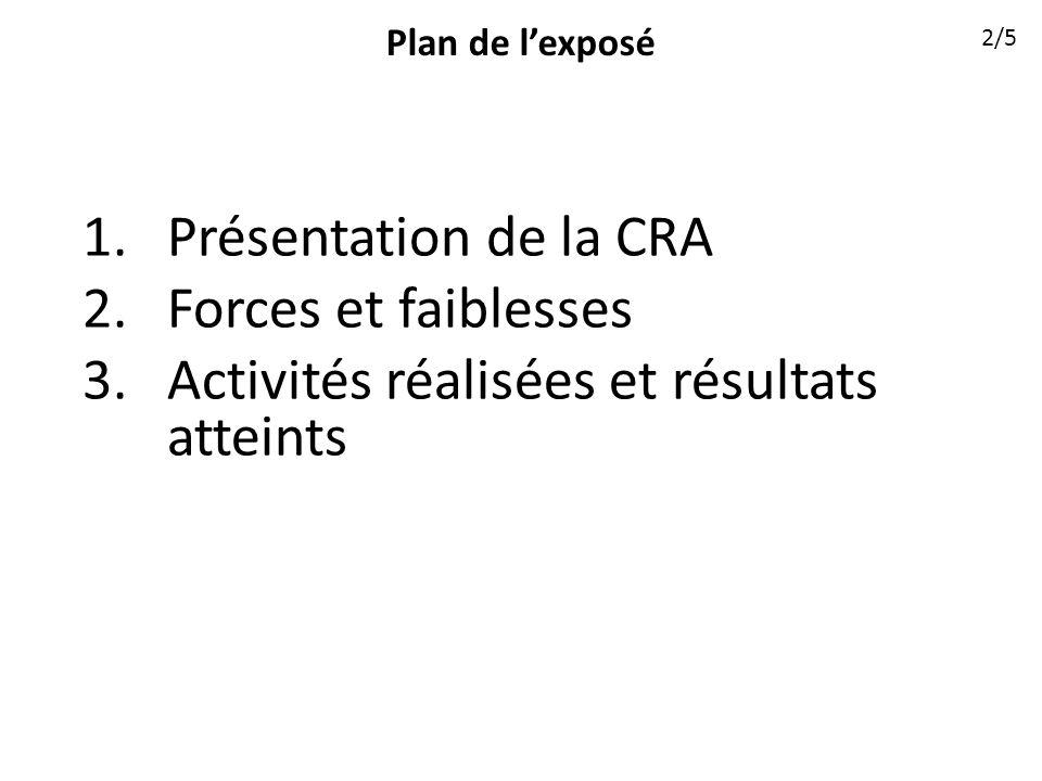 Plan de lexposé 1.Présentation de la CRA 2.Forces et faiblesses 3.Activités réalisées et résultats atteints 2/5
