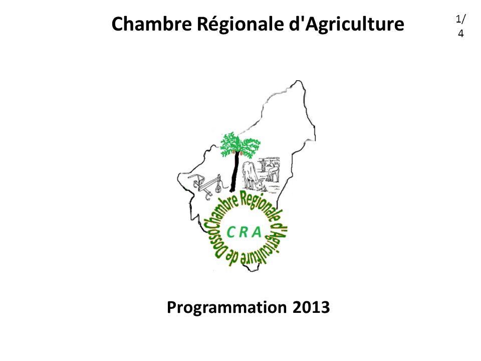 Chambre Régionale d Agriculture Programmation 2013 1/ 4