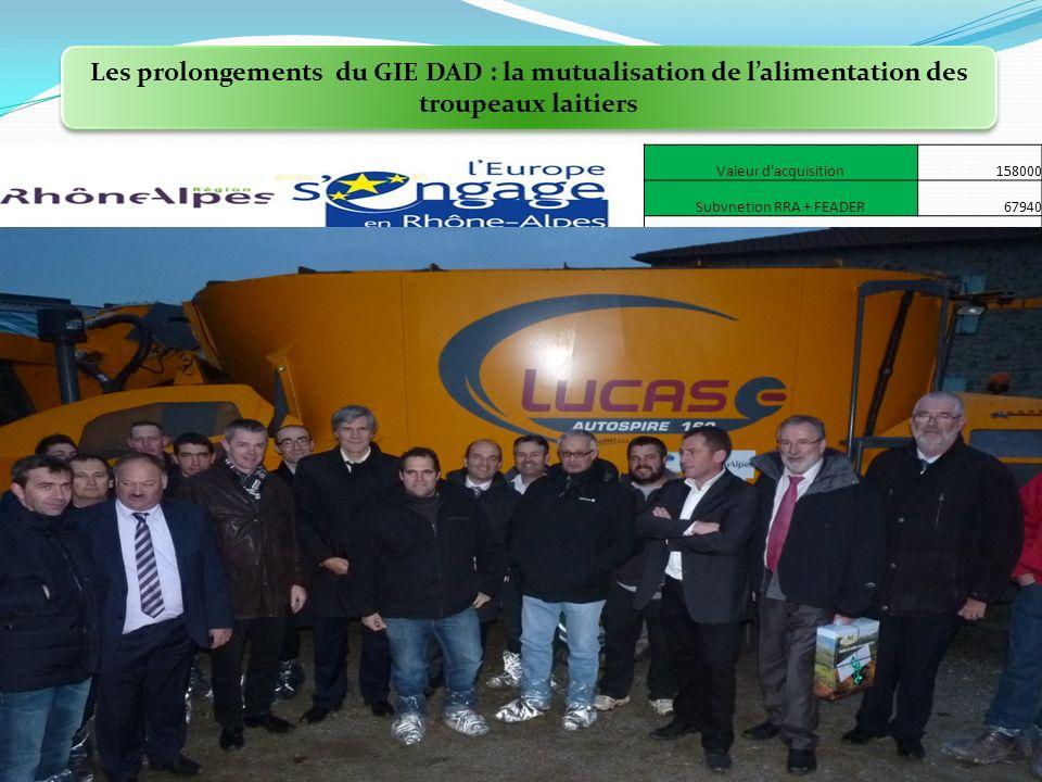 Les prolongements du GIE DAD : la mutualisation de lalimentation des troupeaux laitiers Valeur d acquisition158000 Subvnetion RRA + FEADER67940 Concession Ets PEILLET