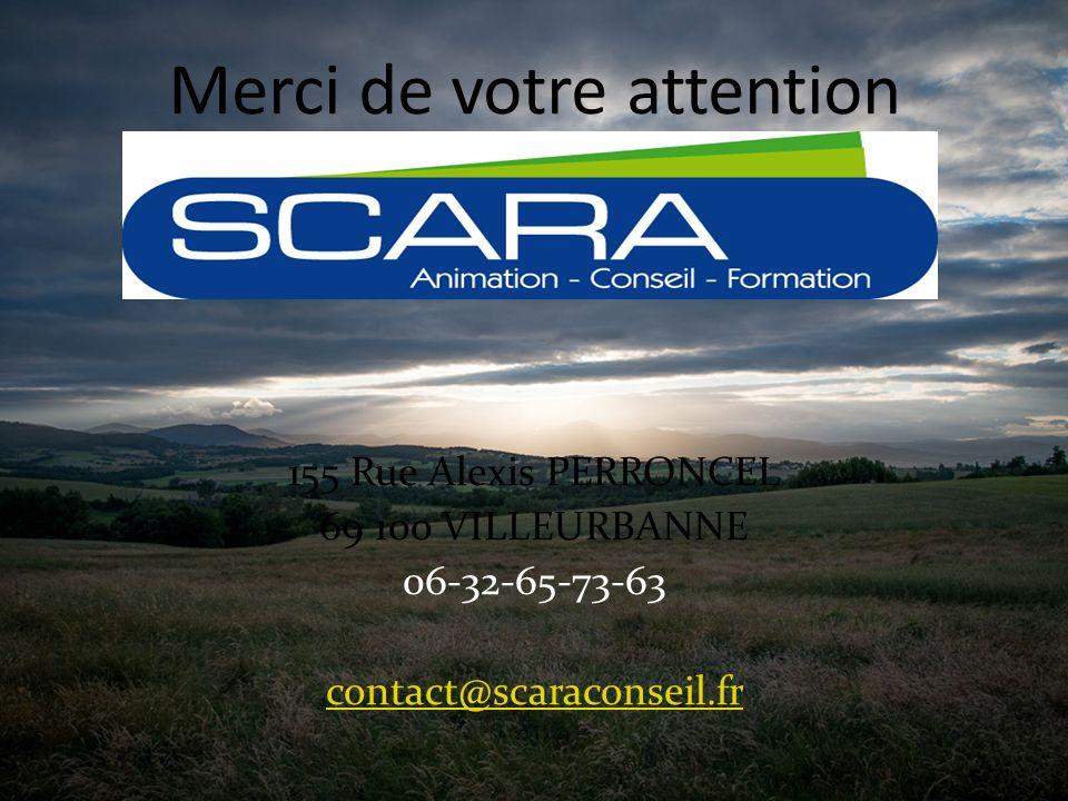155 Rue Alexis PERRONCEL 69 100 VILLEURBANNE 06-32-65-73-63 contact@scaraconseil.fr Merci de votre attention